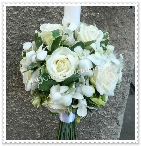 Lumanari de nunta flori albe.5986